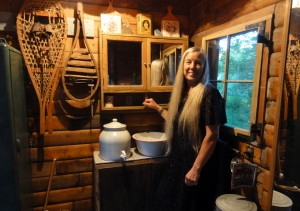 Holly in cabin kitchen